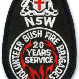 1982 - NSW Volunteer Bush Fire Brigades - 20 Years of Service patch