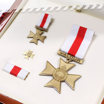 Award for Valour including miniature, lapel pin and ribbon bar