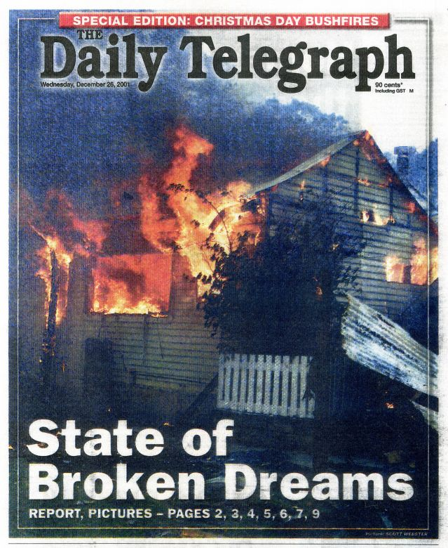 The Daily Telegraph publishes a special edition reporting on the Black Christmas fires, 2001.