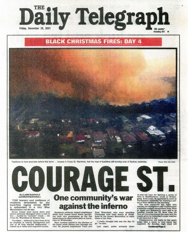 The Daily Telegraph reports on the Black Christmas fires, 2001.