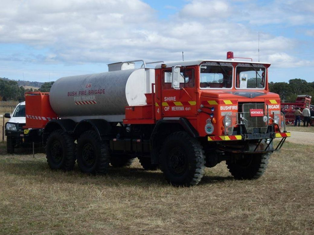 1966 International Mk 5 GS F2 6x6 6 Cyl Petrol, 1980 early Westleigh and Dural BFBs Hornsby, 1980 late Ulan BFB Merriwa, now NSW RFS Heritage