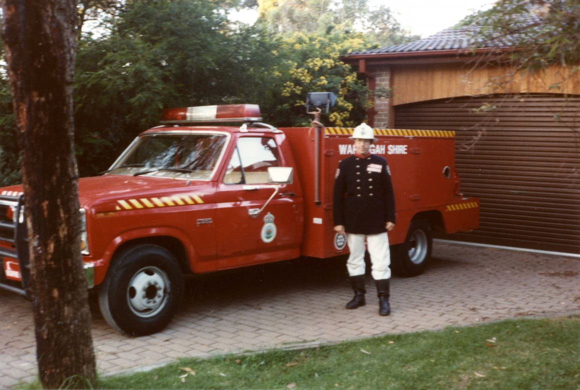 1984 Flyer and Alan Brinkworth in Operational Personal Protective Equipment using items from NSWFB