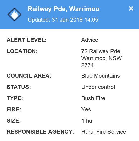 Railway Pde, Warrimoo Fire 1