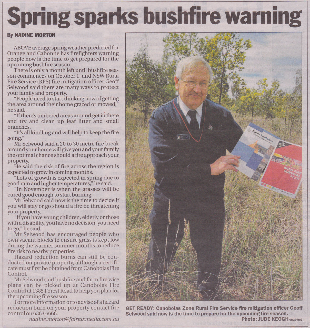 Spring sparks bush fire warning
