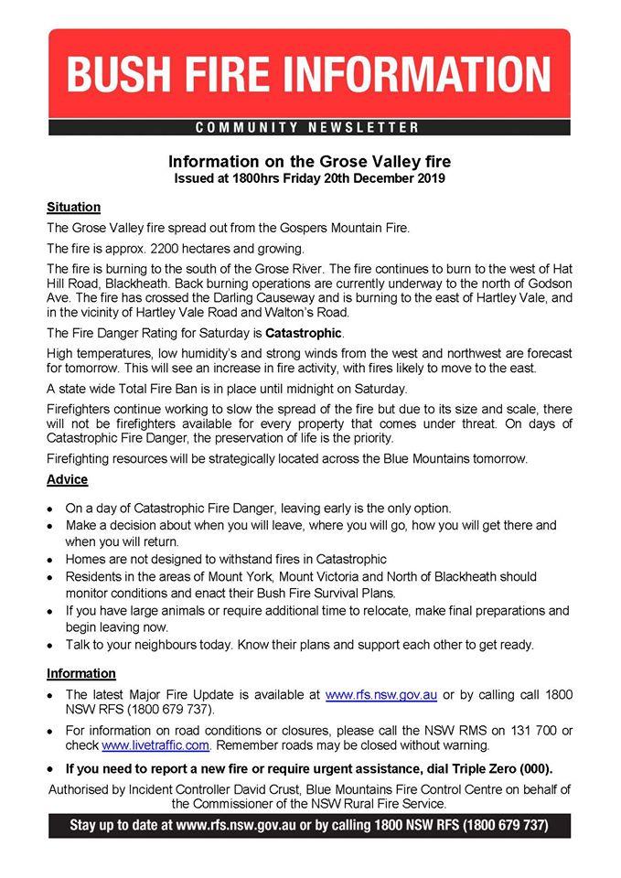Grose Valley Fire Update 20th December 2019