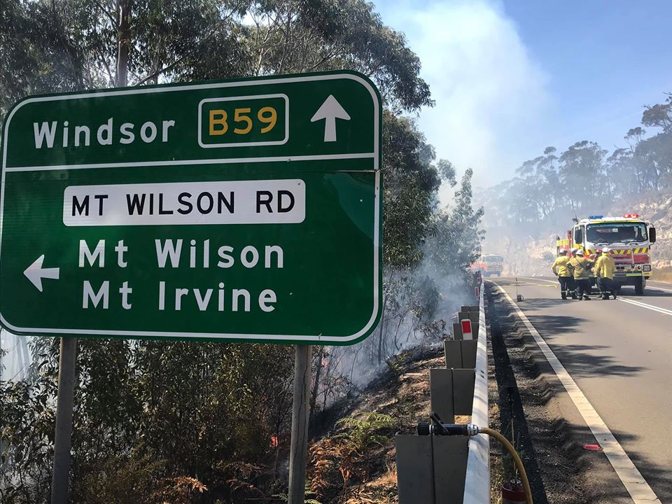 Back burning operations along the Bells Line of Road
