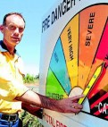Brett Bowden from the Canobolas RFS with the Fire Danger Levels sign