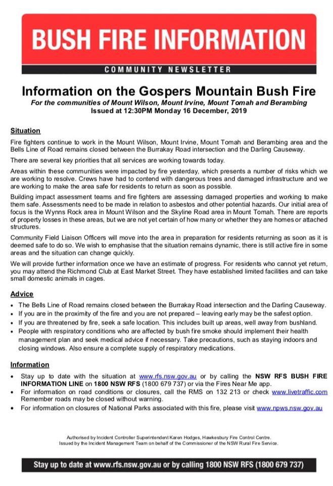 Gospers 17-12-2019 Information