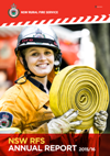 Cover of Annual Report with female firefighter