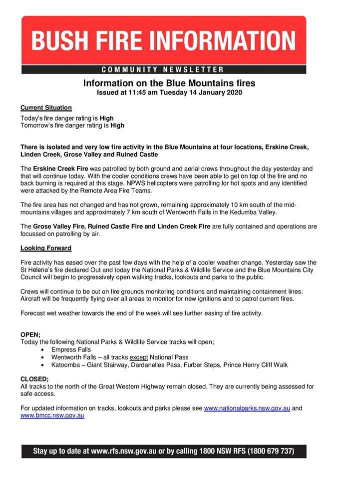 Blue Mountains Fire Update 14-1-2020a