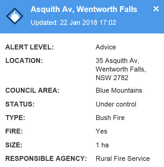 Asquith Avenue Wentworth Falls Fire 1