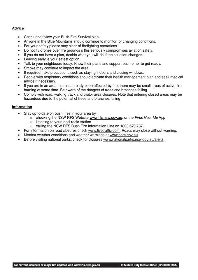 Blue Mountains Fire Update 14-1-2020b