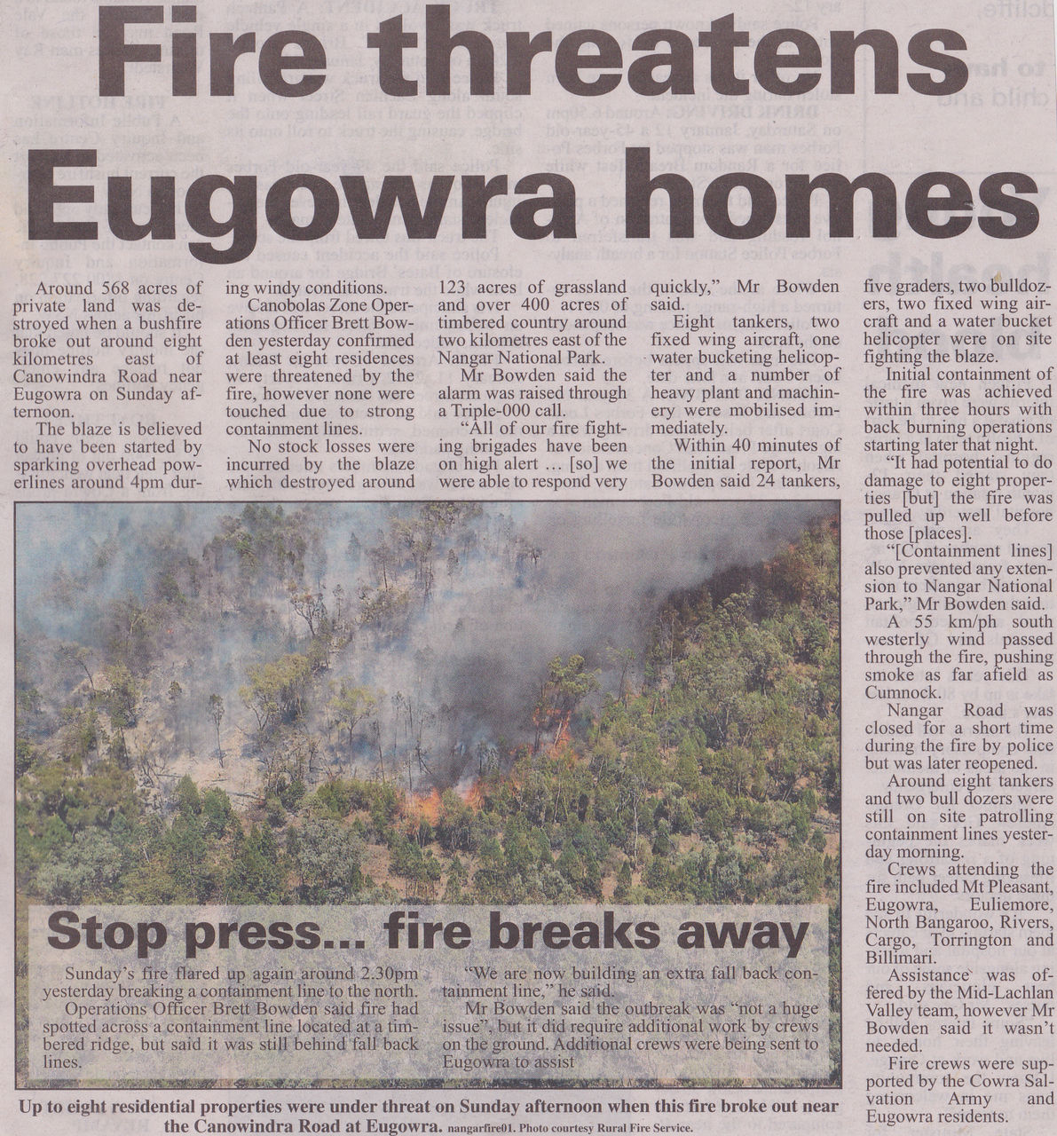 Fire threatens Eugowra homes