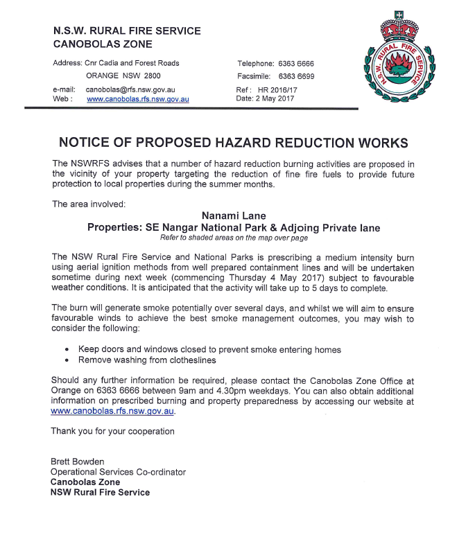 South East of the Nangar National Park Hazard Reduction 2