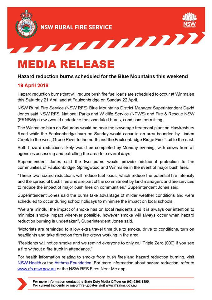 Media Release HR Burns for 21 and 22nd April