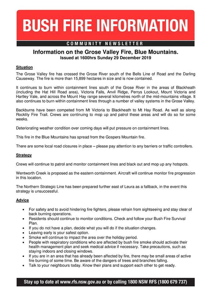Grose Valley Fire Update 29-12-2019a