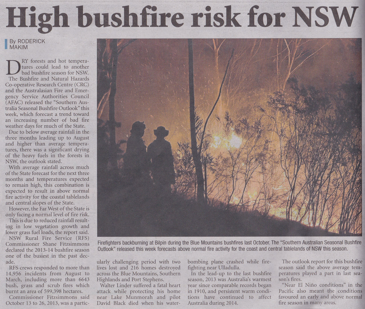 High Fire Risk for NSW