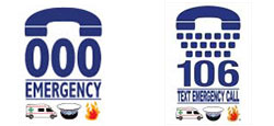 In an emergency call Triple Zero (000) - or text 106