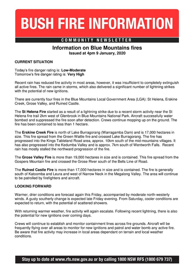 Blue Mountains Community Newsletter 9 January 2020a