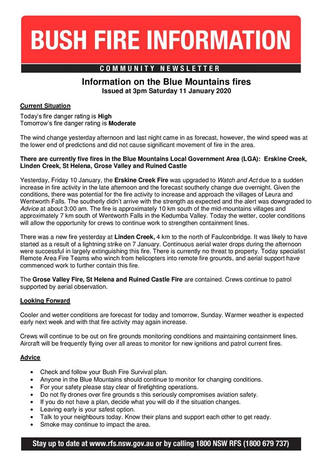 Blue Mountains Update Saturday 11th January 2020a