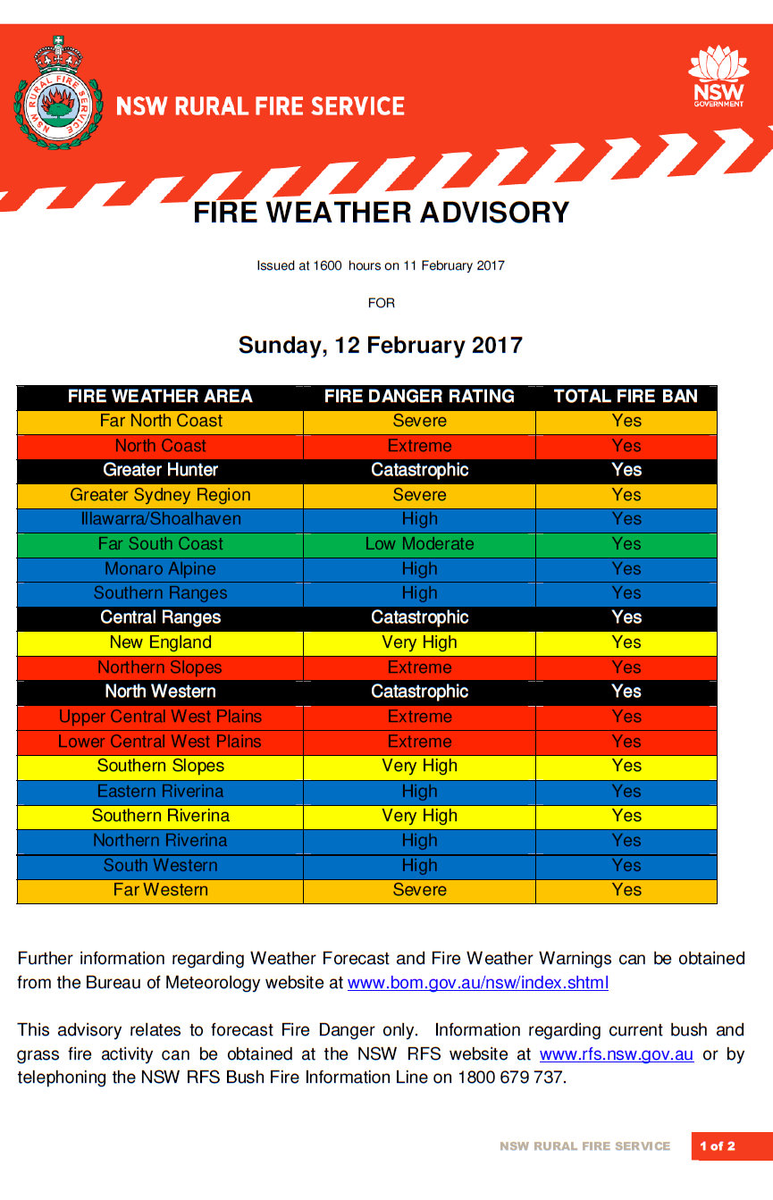Fire weather advisory Sunday 12th Feb 2017a