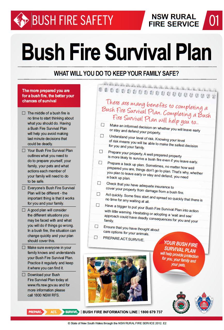 Bush fire survival plan Factsheet