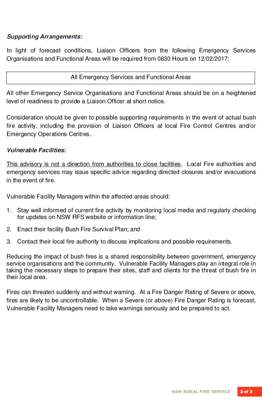 severe fire conditions forecast for blue mountains nsw rural  fire weather advisory sunday 12th feb 2017b